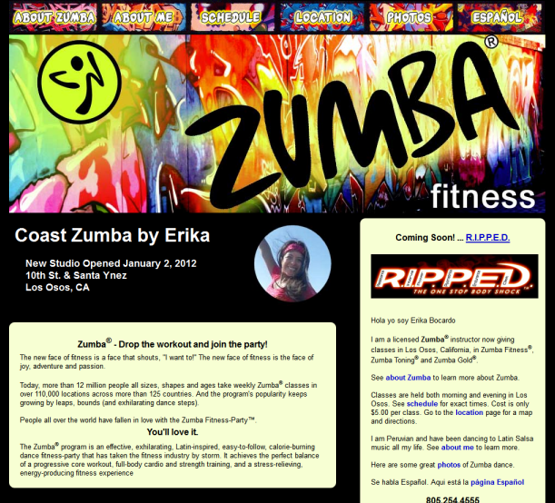 Coast Zumba Web Site